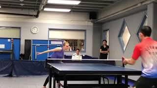 Download Female Table Tennis Player Spikes Ball with Backhand - 1025385 Video
