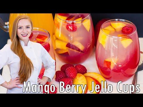 VEGAN Mango Raspberry Jello Cups