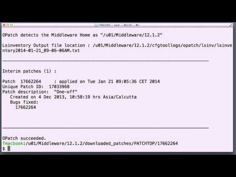 Patching WebLogic 12c or Oracle Fusion Middleware (OFM) 12c with with OPatch