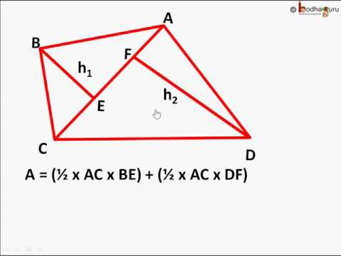 Maths - How to find area of any irregular quadrilaterals and Rhombus - English