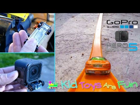 Fun Making a Camera Car with a GoPro Session 5 and Hot Wheels, testing it in the park on slides too.