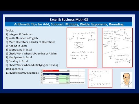 Excel & Business Math 08: Arithmetic Tips for Add, Subtract, Multiply, Divide, Exponents, Rounding
