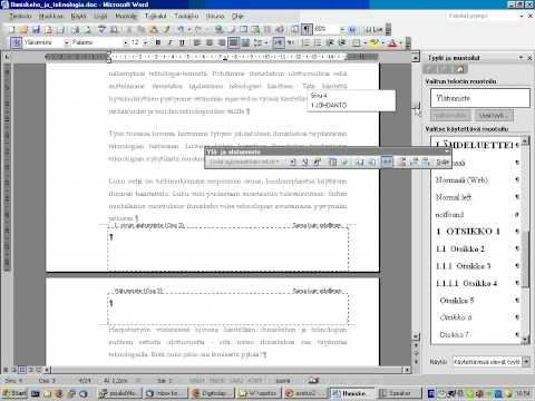 Näin teet asiakirjaan sivunumeroinnin Word 2003:ssa