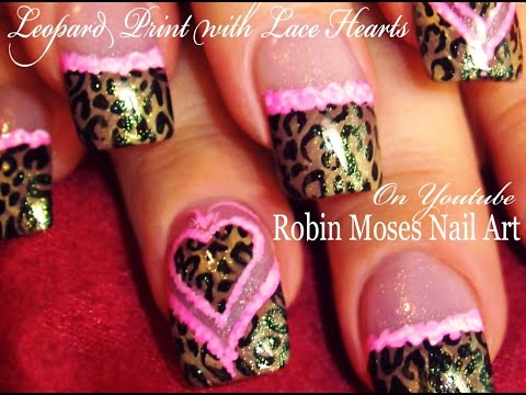 Leopard Print Nails Pink Lace Hearts | Valentine's Day Nail Art Design