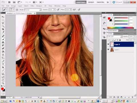 Photoshop hair color change Jennifer Aniston