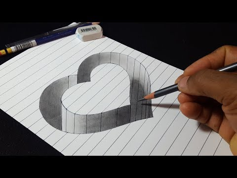 How to Draw 3D Hole Heart Shape - Easy Trick Drawing