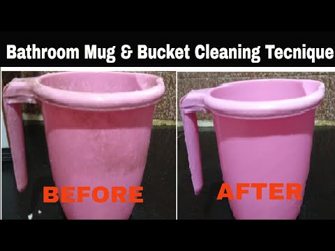 How to clean bathroom buckets and mugs - Easy technique for cleaning Bucket by kiran's kitchen