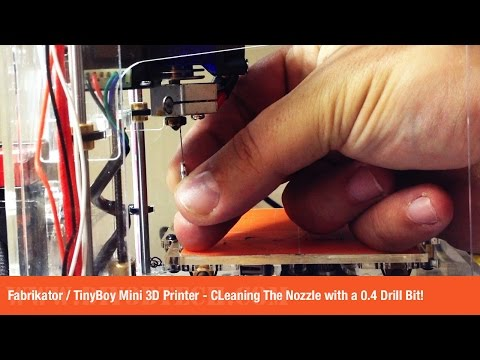 Fabrikator : TinyBoy Mini 3D Printer  - Cleaning The Nozzle with a 0 4 Drill Bit!