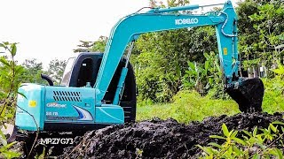 Kobelco SK75 Mini Excavator Digging Pond Komatsu PC60 - The