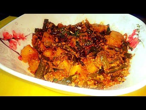 Tasty fried green beans & potatoes curry (vegetarian recipe)