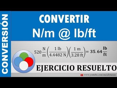 Conversión N/m a lb/ft