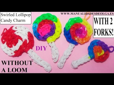Swirled Lollipop Candy Charm With two forks without Rainbow Loom Tutorial. (Mini Figurine)