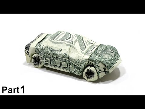 ORIGAMI DOLLAR CAR TUTORIAL (Won Park) PART 1 折り紙 スポーツカー $2 dollar bills money SPORT CAR Cabriolet