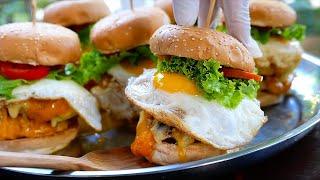 Thai Food - CROCODILE CHEESEBURGERS Double Yolk Eggs Bangkok Thailand