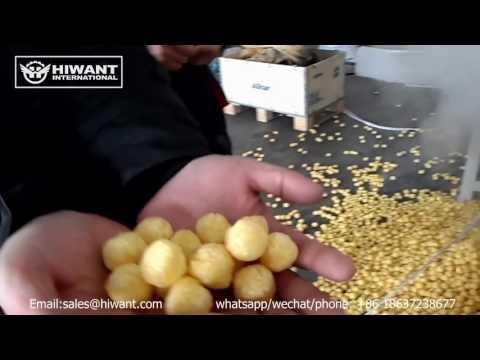 Nigeria customer puffed cheese ball corn snacks food making machines & Twin screw extruder productio