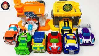 Transformers Rescue Bots Flip Racers Minis Bumblebee Quick Launch Garage Racing Team Unboxing Video
