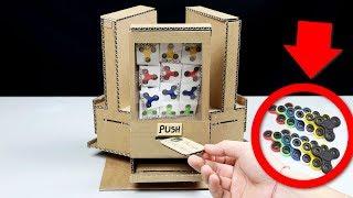 How to make Fidget Spinner Vending Machine using Coins! - DIY Cardboard Vending Machine