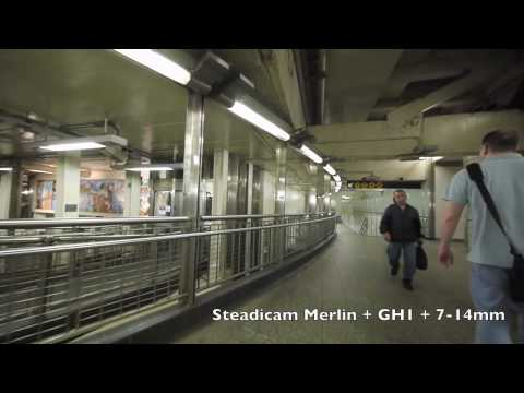 Times Square, into subway station NYC.  Steadicam Merlin test