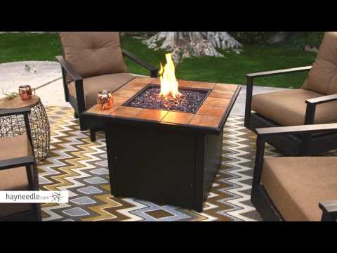 UniFlame Ceramic Tile Propane Fire Pit - Slate - Product Review Video