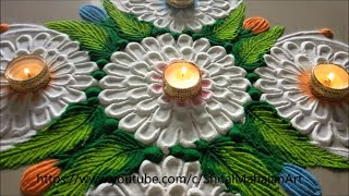 very easy and simple festival rangoli designs| navratri diwali special rangoli by shital mahajan