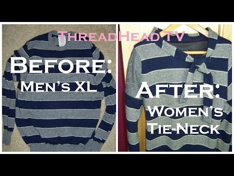 CASHMERE Sweater Sew REMAKE: How to Turn Men's XL into Women's Tie Neck