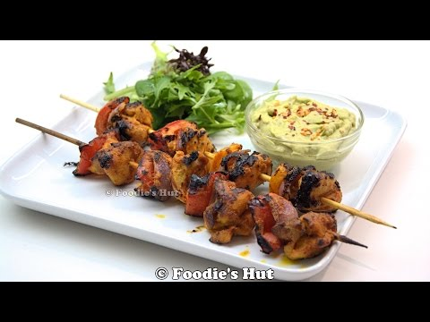 GRILLED CHICKEN TIKKA KABAB (cooked on Indoor   Grillpan)  - Recipe by Foodie's Hut #0124