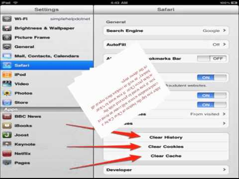How to clear cache in safari iPad?