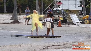 Rita Ora Fights the Wind in South Beach While Filming