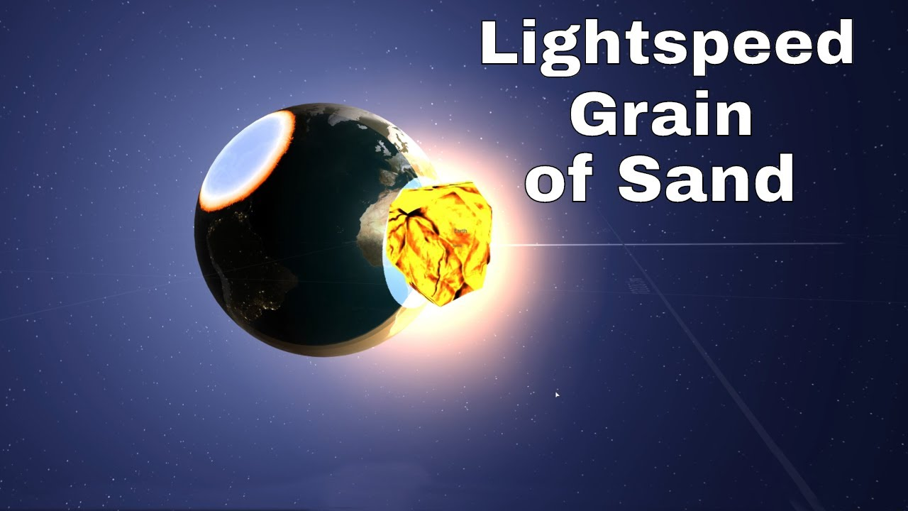 Hitting Earth with a Grain of Sand Going 99.9% the Speed of Light