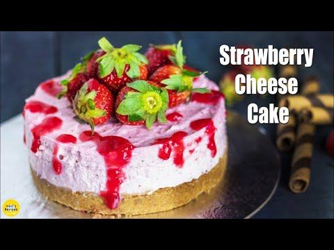 बिना ओवन के बनाइये स्ट्रॉबेरी केक घर में | No Bake Strawberry Cheesecake | Cake Recipe Without Oven