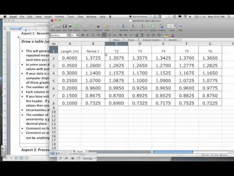 Data Raw data table Excel