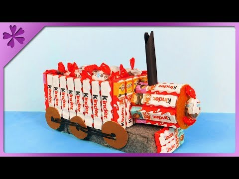 DIY How to make candy train out of Kinder Chocolate (ENG Subtitles) - Speed up #489