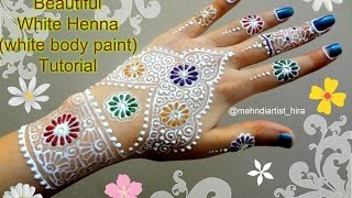 How to apply easy simple beautiful white henna mehndi designs for hands with glitter tutorial