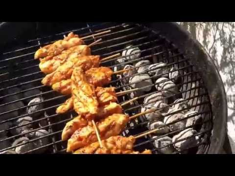 How to cook chicken spit BBQ chicken kebab indirect heat on a Weber Grill DIY
