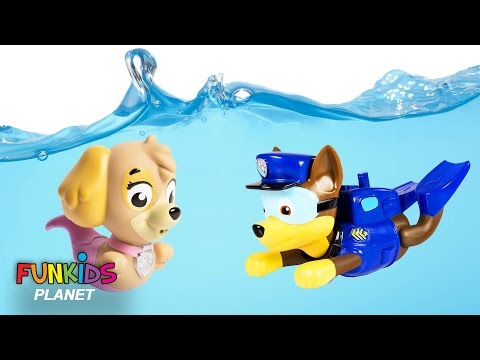Paw Patrol Skye & Chase Scuba Dives with Moana Maui in Swimming pool