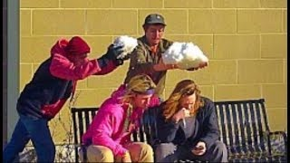 Throwing Snowballs At People Prank