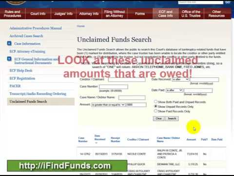 Unclaimed Money from Bankruptcy Cases