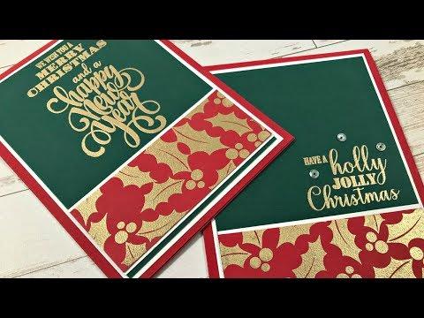 Merry & Bright Holly Border Card