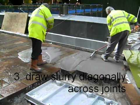 Grouting paving using tufftop jointing mortar - step 2 - pour