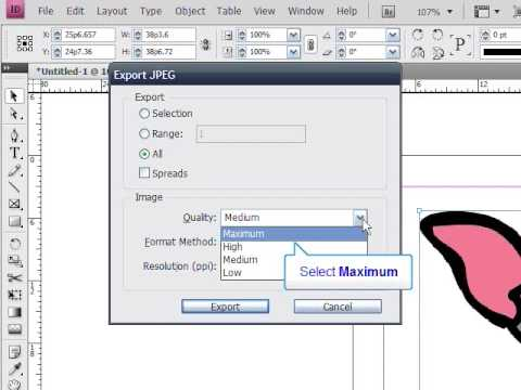 Exporting an InDesign file to JPEG