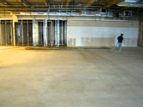 CUSTOM CONCRETE 7000 sf carpet glue removal and floor prep PART 2