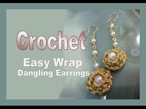 CROCHET Easy Wrap Dangling Earrings TUTORIAL | Liz Kreate