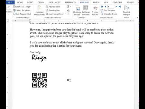 OnMerge Barcodes 101. Barcodes mail-merged into a batch of letters