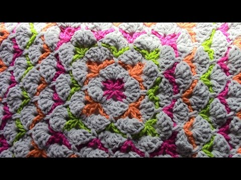 Crochet shell stitch square