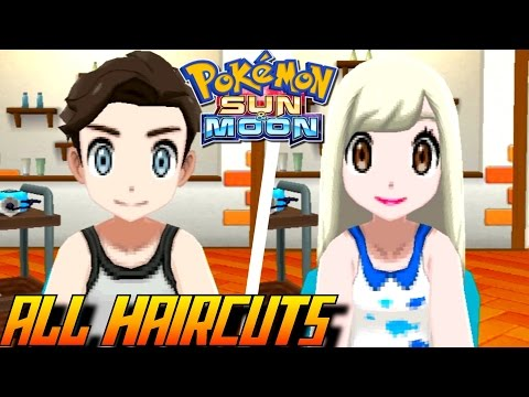 Pokémon Sun and Moon - All Haircuts + Colors (Male & Female)