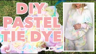 HOW TO: DIY TIE DYE, PASTEL CRINKLE/SCRUNCHED TIE DIE MATCHING TRACKSUIT AT HOME | AMY COOMBES