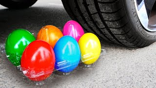 Experiment Car vs Rainbow eggs | Crushing Crunchy & Soft Things by Car!