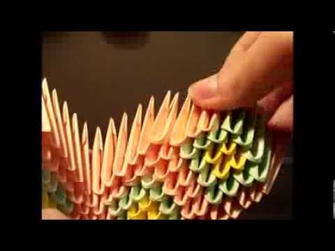 how to make 3d origami mini peacock