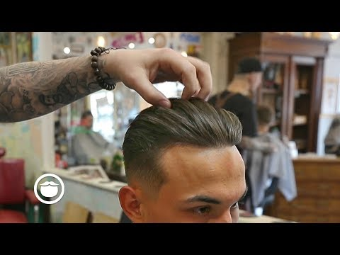 Combed Back Haircut with Middle Part