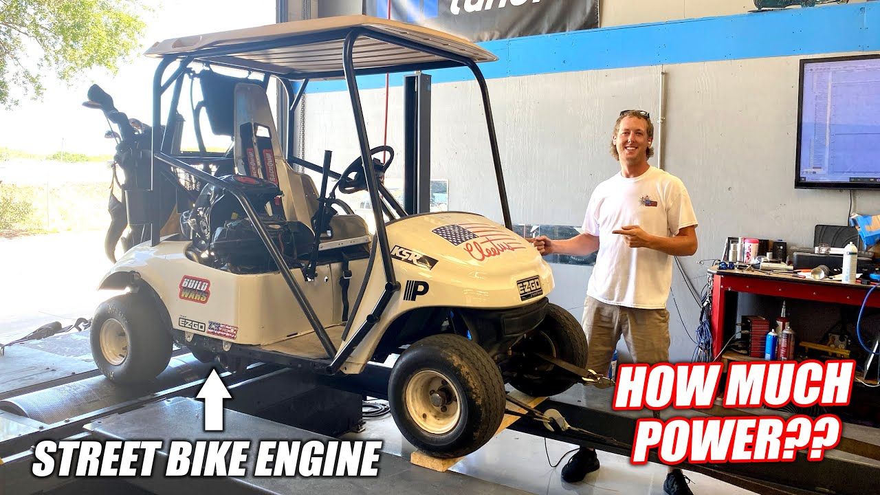 We Put Our STREET BIKE Powered Golf Cart on the DYNO!!! (How Much Horsepower!?)